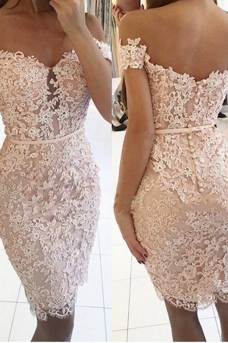 Lace Homecoming Dresses,Sheath Homecoming Dress,Off Shoulder Homecoming Dress,Sexy Homecoming Dresses DS455