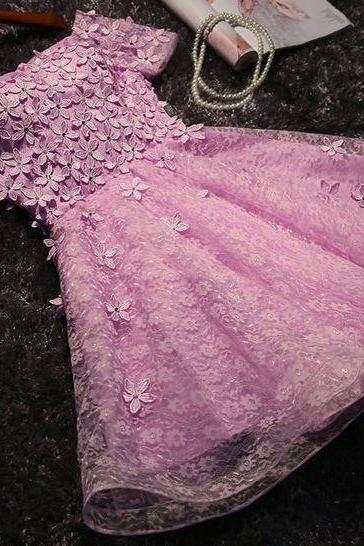 Pink Homecoming Dresses,Short Homecoming Dress,Beautiful Homecoming Dresses,Short Sleeve Homecoming Dresses DS469
