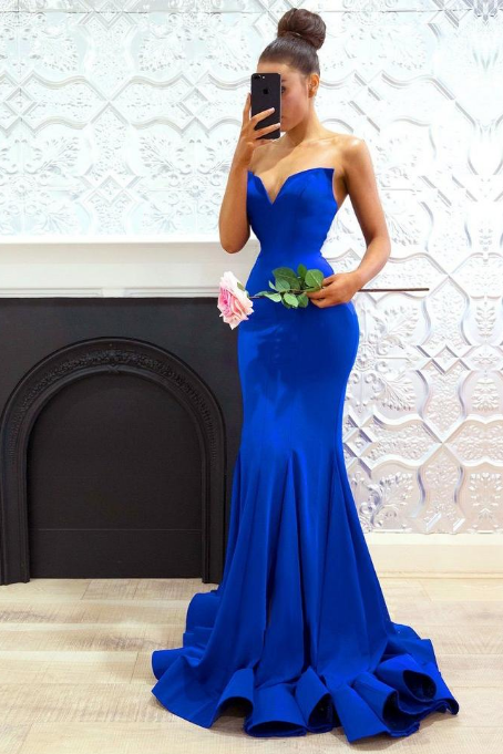 Sweetheart Prom Dress,Mermaid Prom Dresses,Royal Blue Prom Dress,Long Prom Dresses DS479