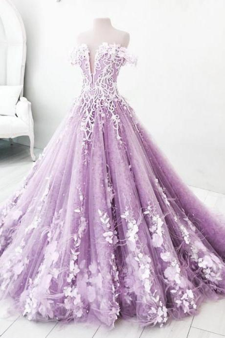 Ball Gown Prom Dresses,Off-the-Shoulder Prom Dress,Lilac Prom Dresses,Appliques Prom Dress,Floor Length Ball Gown Evening Dress DS489