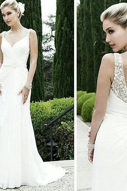 Beach Wedding Dresses with Straps,V-neck Sexy Open Back Beading Bridal Gown DS491