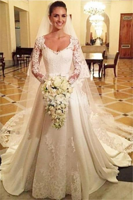 Classic Wedding Dresses,A-Line Wedding Dress,Long Sleeves Wedding Dresses,Appliques Wedding Dress DS510