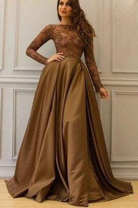 Long Sleeve Prom Dresses,A Line Evening Dress,Elegant Prom Gowns,Formal Prom Dresses DS576