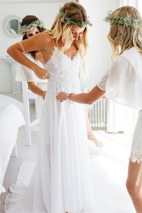 Spaghetti Strap Wedding Dresses,White Wedding Dress,Chiffon Wedding Dresses,Summer Beach Wedding Dresses DS581