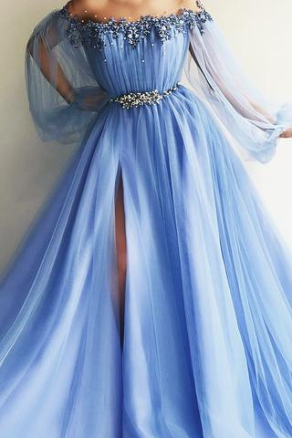 Blue Prom Dresses,Long Sleeves Prom Dress,Off the Shoulder Prom Dresses,Beaded Crystal Prom Dresses DS583