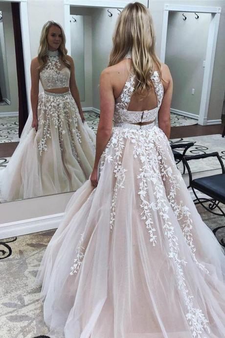A Line Prom Dress,Two Pieces Prom Dresses,High Neckline Prom Dress,Long Prom Dresses,Lace Formal Prom Dress DS584