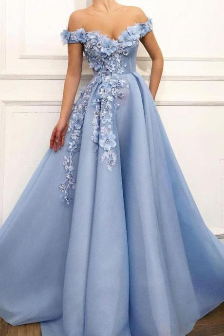 Blue Prom Gown,Off Shoulder Prom Dresses,Flower Appliques Prom Dresses, Modest Beautiful Prom Dresses DS587