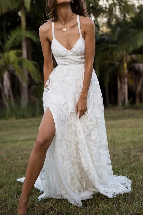Charming Wedding Dresses,Lace Wedding Dresses,Long Bridal Dress,Spaghetti Straps Wedding Gown,Split Beach Wedding Dress DS592