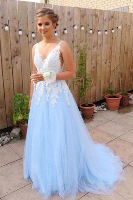 A Line Prom Dress,V Neck Prom Dresses,Backless Prom Dresses,Sky Blue Prom Dress,Tulle Prom Dresses DS593
