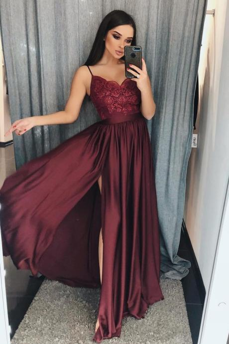 Burgundy Prom Dress,A Line Prom Dresses,V-Neck Long Prom Gown,Split Prom Dresses With Lace DS594