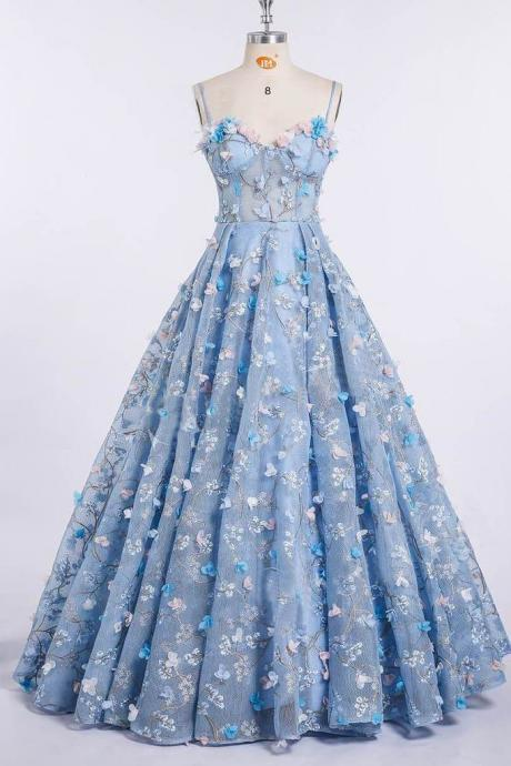Princess Prom Dresses,Spaghetti Strap Prom Dress,3D Flower Applique Prom Gown,Sky Blue Prom Dresses,Ball Gowns DS596