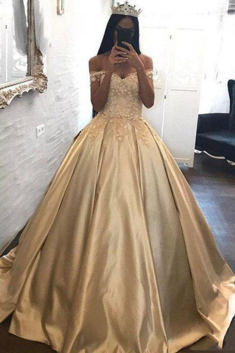 Off the Shoulder Prom Dresses,Appliques Ball Gown,Cheap Prom Dresses, Gold Prom Gown DS598
