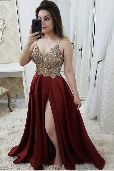Spaghetti Strap Prom Dresses,Maroon Prom Dresses,Beaded Prom Dresses with Slit DS599