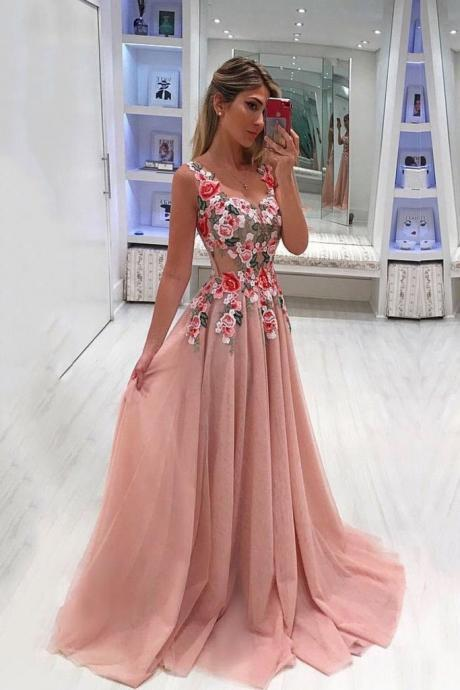 A Line Prom Dresses, Floral Appliqued Prom Dress, Cheap Prom Gown,Long Tulle Evening Dresses DS602