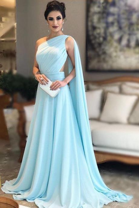 Light Blue Prom Dresses,One Shoulder Prom Dress,Chiffon Formal Prom Gown, Simple Bridesmaid Dresses DS603