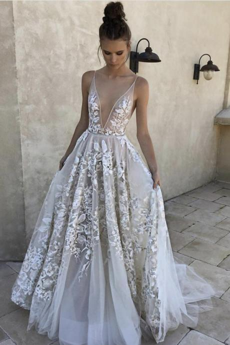 Elegant A Line Prom Dresses,Deep V-Neck Prom Dress. Tulle Prom Dress, Prom Dress with Lace Appliques DS604