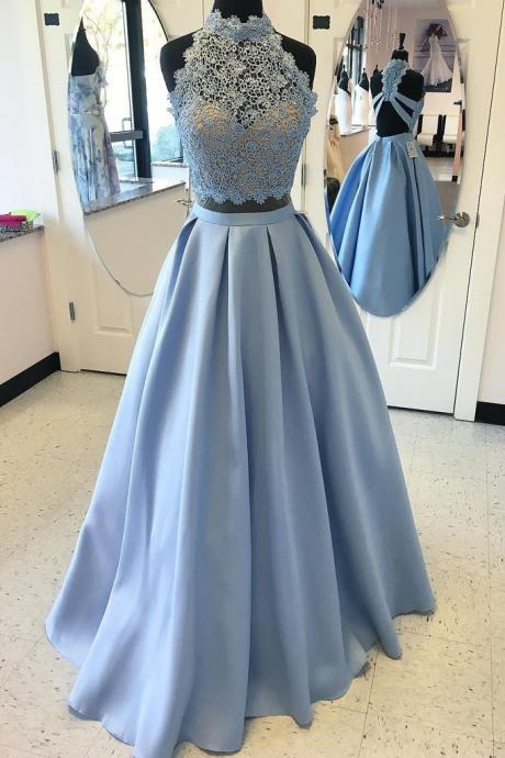 2 Piece Prom Dresses,High Neck Prom Gown,Cheap Prom Dress With Lace Top DS606