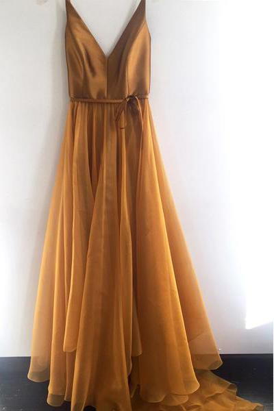 Spaghetti Strap Prom Dress,Gold Prom Dress,Cheap Prom Dresses,Formal Party Dresses DS608