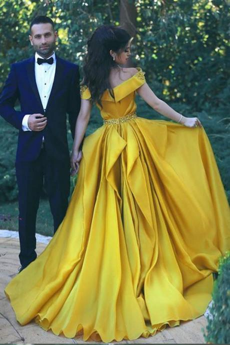 Off the Shoulder Prom Dress,Formal Evening Dresses,Yellow Prom Dresses,Sexy Summer Evening Gowns DS609