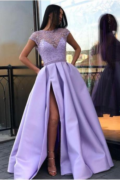 A Line Prom Dresses,Satin Prom Dress With Slit,Cap Sleeves Prom Dresses With Pockets DS610