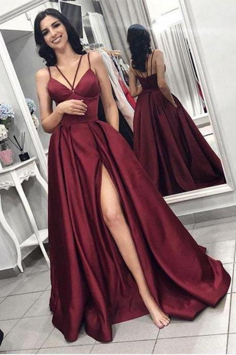 Maroon Prom Dresses,Side Slit Prom Dress,A Line Evening Dresses,Prom Dress With Pockets DS611