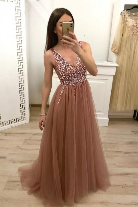 A Line Prom Dresses,V Neck Prom Dress,Tulle Beaded Prom Dress, Cheap Evening Gown DS613