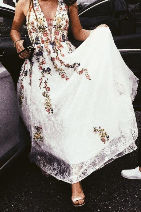 Charming Prom Dresses,Floral Lace Prom Dress A Line Prom Dresses,Cheap Wedding Dress DS614