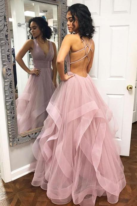 Deep V Neck Prom DressesRuffles Prom Dress,Pink Prom Dresses,Long Prom Dress with Criss Cross Back DS616