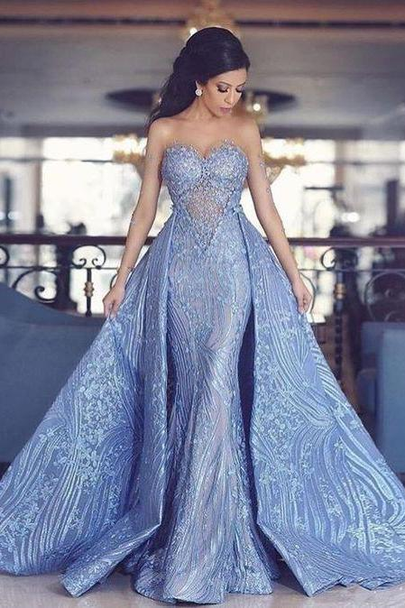 Sweetheart Prom Dresses,Mermaid Prom Dress With Detachable Train,Blue Evening Dresses DS617