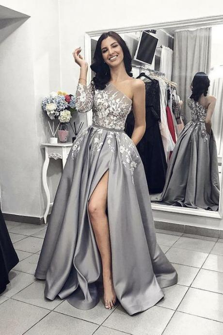 One Shoulder Prom Dresses,Grey Prom Dress with Split, Lace Appliques Evening Dress DS612