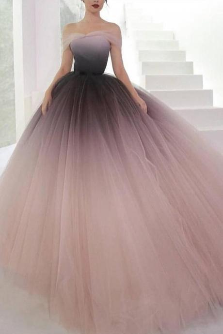 Off-the-shoulder Prom Dresses,Ombre Prom Dress,Ball Gown Prom Dresses Cheap Evening Dresses DS614