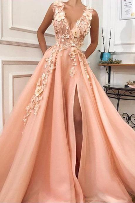 A Line V neck Prom Gown, Long Prom Dress,Tulle Evening Party Dress with Flower DS615