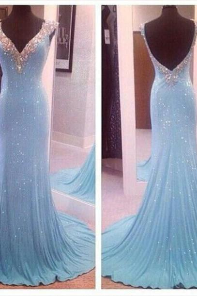 Sky Blue Sequin V Neck Open Back Mermaid Long Prom Dresses,Cap Sleeves Backless Sheath Evening Prom Dress,Fashion Women Dress,Shiny Evening Gown