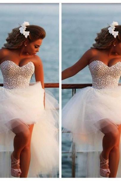 New Design High Low White Heavy Pearls Short Wedding Dress,A Line Sweetheart Front Short Long Back Wedding Gowns, Bridal Wedding Dresses, Fashion Prom Dress