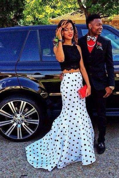 Two Pieces Black Lace Sheath Long Prom Dresses Ball Gown,Black Spots Mid Section Evening Dress Prom,Formal Women Dress