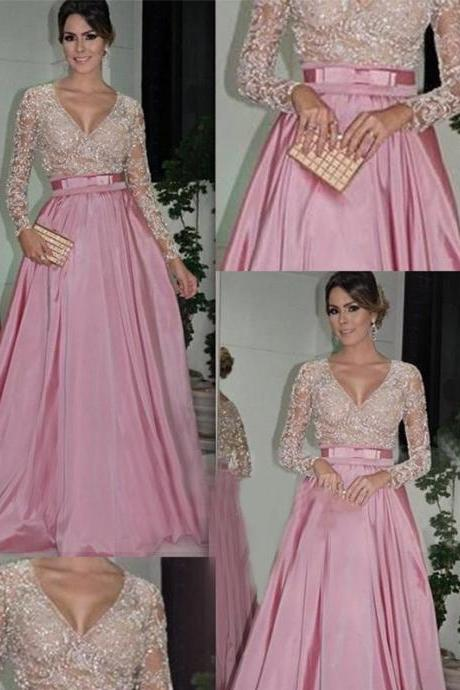 Lace Long Sleeves V Neck Pink Prom Dresses Hot Sales Mother Of The Bridal Dress,Long Evening Prom Gowns Graduation Dresses