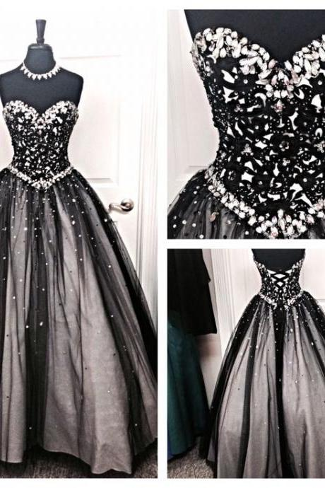 Black White Tulle Long Evening Prom Gowns,Sweetheart Beaded Bodice Quinceanera Dresses For Teens Juniors Dress,Prom Graduation Dresses PD056