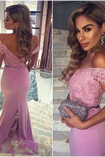 Drop Sleeves Pink Prom Dresses,Mermaid Prom Dresses,Lace Prom Dress,Back V Evening Prom Gowns,Formal Women Dresses