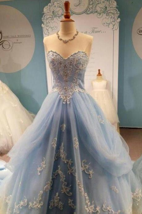 White Lace Light Blue Ball Gown Prom Dresses,Princess Prom Dresses, Tiered Fluffy Skirt High Low Evening Prom Gowns,Quinceanera Dresses 2016 For Teens Juniors Dress,Fashion Graduation Dress