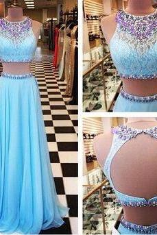 Light Blue Lace Backless Prom Dresses,High Neck Two Pieces Prom Dress,Beads Mid Section Sexy Evening Prom Gowns ,Open Back Prom Dresses 2016,Graduation Dresses