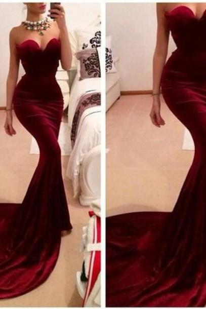 Elegant Burgundy Prom Dresses, Mermaid Prom Dresses,Wine Red Long Prom Dress ,Sweetheart Sexy Evening Dresses ,Graduation Dress