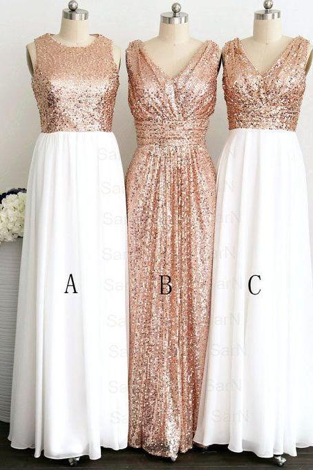 Rose Gold Sequin White Chiffon Bridesmaid Dresses,V Neck Sexy Long Bridesmaid Dress,Elegant Bridesmaid Gowns,Simple Prom Dresses,Graduation Dress