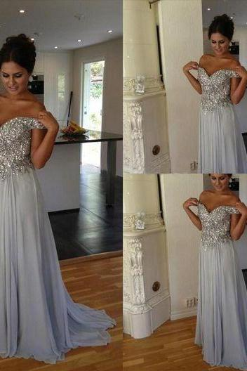 Sweetheart Heavy Beaded Baby Blue Evening Dresses,Sexy A Line Prom Dress,Drop Sleeves Long Prom Gown,Custom Made Evening Gown