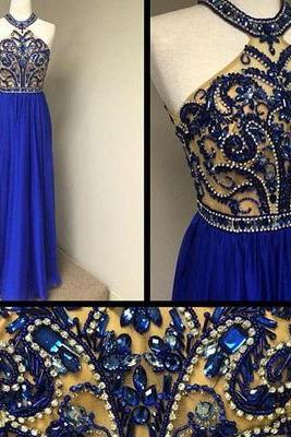 Charming Royal Blue Long Prom Dresses,Heavy Beads Crystal See Through Prom Gowns,A Line Halter Evening Dress,Sexy Graduation Dresses,Prom Dress 2016