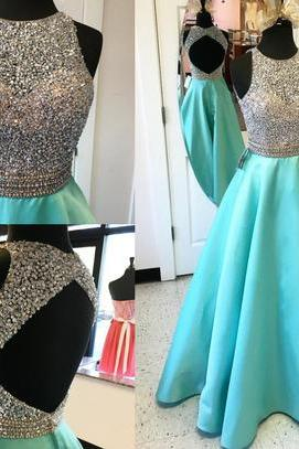 Heavy Beaded Bodice Mint Prom Dresses,Backless High Neck Long Prom Gowns,Open Back A Line Evening Gown,Sexy Graduation Dresses,Formal Women Dress