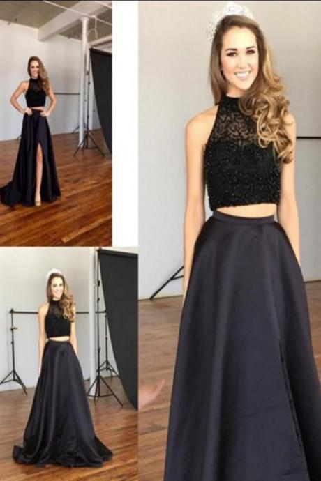 Two Pieces Black Prom Dresses,High Neck Beaded Long Prom Dresses,2 Pieces Front Split Evening Dress,Wedding Party Gown For Sweet 16 Dresses,Graduation Dresses 2016