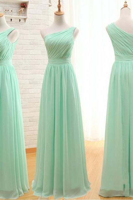 One Shoulder Mint Bridesmaid Dresses,Empire Waist Long Bridesmaid Dresses,Ruffles Cheap Bridesmaid Dresses,Custom Made Bridesmaid Dress,Simple Prom Dress