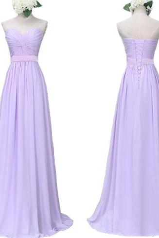 Empire Waist Lilac Chiffon Bridesmaid Dresses,Sweetheart Long Bridesmaid Dresses, Cheap Bridesmaid Dresses,Custom Made Bridesmaid Dress With Lace Back Up,Elegant Prom Dress