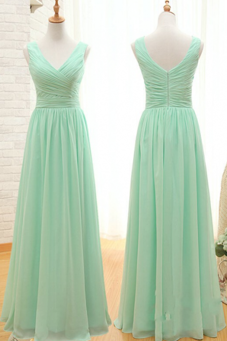 Off The Shoulder Mint Chiffon Bridesmaid Dresses, Long Bridesmaid Dresses,V Neck Cheap Bridesmaid Dresses,Ruffles Custom Made Bridesmaid Dress,Elegant Mint Prom Dress