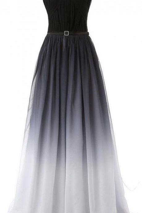Hot Sales Navy Blue Ombre Prom Dress,Gradient Chiffon Long Prom Dresses,Black Belt Ombre Evening Dress,Black Gradient Bridesmaid Dresses.Custom Made Cheap Prom Gowns,Formal Women Dresses PD052